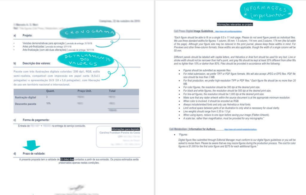 Printscreen de telas de orçamento, destacando onde se encontra o cronograma (1º seção), detalhamento dos valores (2ª seção) e informações relevantes ao projeto (última página)